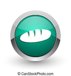 web, ronde, chroom, metalen, achtergrond., ontwerp, internet, groen wit, brood, schaduw, zilver, pictogram
