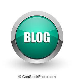 web, ronde, chroom, metalen, blog, achtergrond., ontwerp, internet, groen wit, schaduw, zilver, pictogram