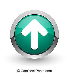 web, ronde, chroom, op, metalen, achtergrond., ontwerp, richtingwijzer, internet, groen wit, schaduw, zilver, pictogram