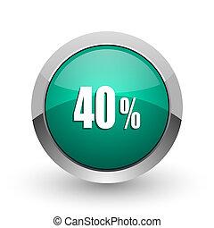 web, ronde, chroom, procent, 40, metalen, achtergrond., ontwerp, internet, groen wit, schaduw, zilver, pictogram