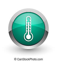 web, ronde, chroom, thermometer, metalen, achtergrond., ontwerp, internet, groen wit, schaduw, zilver, pictogram