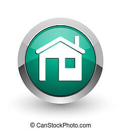 web, ronde, chroom, woning, metalen, achtergrond., ontwerp, internet, groen wit, schaduw, zilver, pictogram