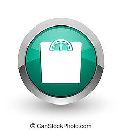 web, ronde, gewicht, chroom, metalen, achtergrond., ontwerp, internet, groen wit, schaduw, zilver, pictogram