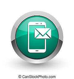 web, ronde, post, chroom, metalen, achtergrond., groene, internet, ontwerp, witte , schaduw, zilver, pictogram
