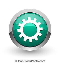 web, ronde, tandwiel, chroom, metalen, achtergrond., ontwerp, internet, groen wit, schaduw, zilver, pictogram