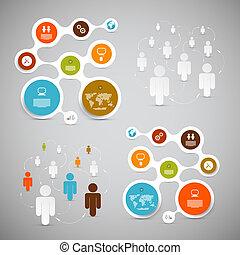 web, sagoma, carta, -, cerchio, vettore, infographic, disposizione