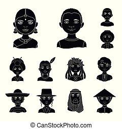 web, satz, illustration., leute, menschliche , heiligenbilder, sammlung, vektor, schwarz, rennen, nationalität, design., symbol, bestand