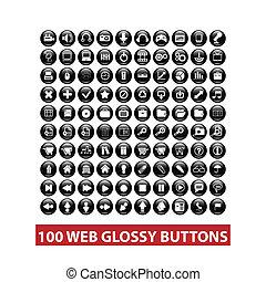 web, satz, tasten, vektor, schwarz, glänzend, 100
