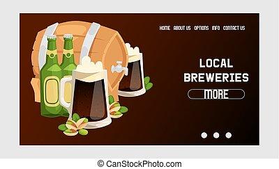 web, sbarra, alcool, beermug, fondale, birra chiara, illustrazione, beerhouse, scuro, birra, vettore, beerbarrel, atterraggio, fondo, festa, pagina, beerbottle, fabbrica birra, web-page, beery