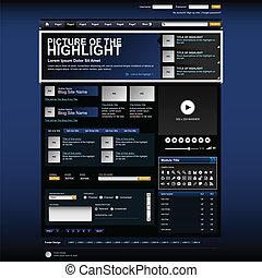 web, schablone, website, entwerfen element
