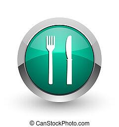 web, schaduw, eten, chroom, metalen, achtergrond., ontwerp, internet, groen wit, ronde, zilver, pictogram
