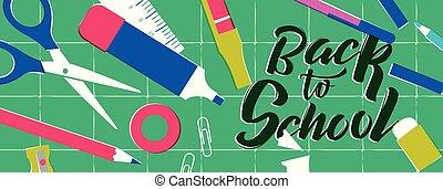 web, school, back, toebehoren, spandoek, stand