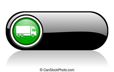 web, schwarzer hintergrund, ikone, grün, auslieferung, weißes