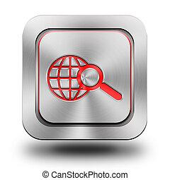 Web search aluminum glossy icon, button, sign