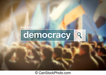 Web search bar glossary term - democracy