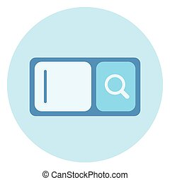Web Search Bar Icon With Magnifying Glass On Blue Background