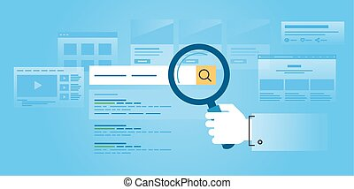 Web search - Flat line design website banner of web search,...
