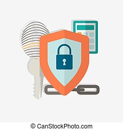 Web security concept icon. Vector illustration in flat style