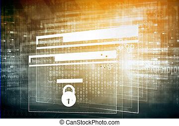 Web security, safety concept, digital illustration