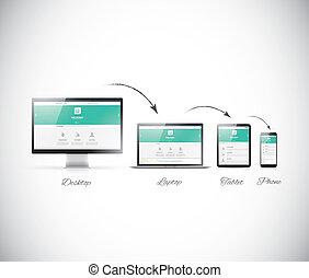 web, sensibile, sviluppo, disegno