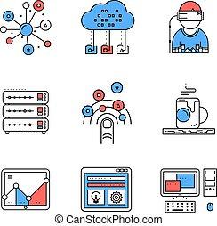 Web services line icons set