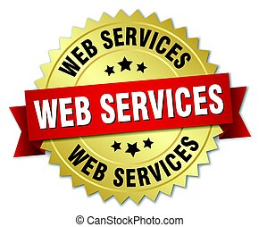 web services round isolated gold badge