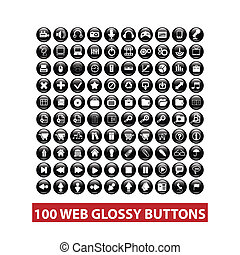 web, set, bottoni, vettore, nero, lucido, 100