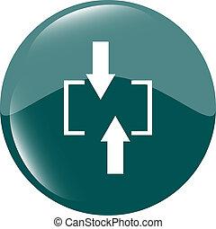 web, set, (button), icona freccia