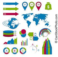 web, set, disposizione, dettaglio, luogo, infographic, disegni elementi