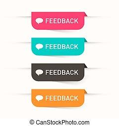 web, set, feedback, icone, etichette, -, carta, vettore, adesivi