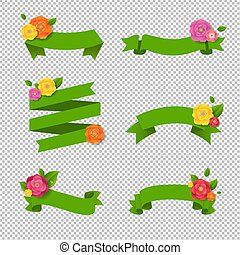 web, set, grande, verde, fiori, nastro