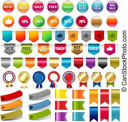web, set, groot, verkoop, verzameling, stickers, linten