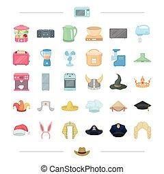 web, set, icone, collection., tecnica, apparecchiatura, cartone animato, altro, abbigliamento, style., testa, elettro, casa, icona