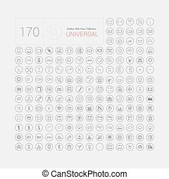 web, set, icone, mobile, universale, moderno, linea sottile, 170