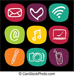 web, set, icone tecnologia