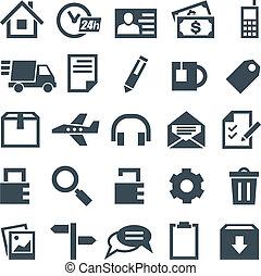 web, set, iconen, beweeglijk, universeel, sites., toepassingen
