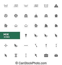 web,  Set, iconen, bouwterrein, malen, vermalen,  Vector