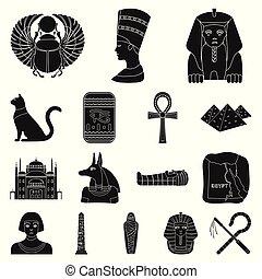 web, set, illustration., icone, egitto, simbolo, faraone, collezione, vettore, nero, regno, antico, design., casato