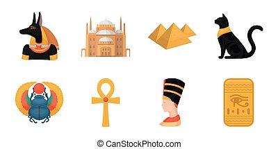 web, set, illustration., icone, egitto, simbolo, faraone, collezione, vettore, regno, antico, design., casato