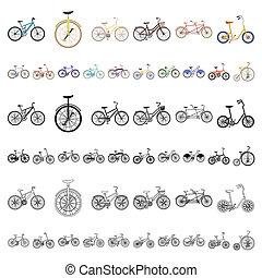 web, set, illustration., iconen, symbool, verzameling, bitmap, bicycles, gevarieerd, design., type, spotprent, vervoeren, liggen