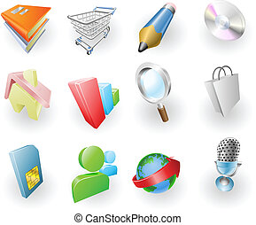 web, set, kleur, dynamisch, toepassing, pictogram