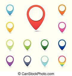 web, set, kleurrijke, iconen, knoop, spelden, illustratie, of, achtergrond, vector, plaats, witte , navigatie, wijzers, navigatiesysteem