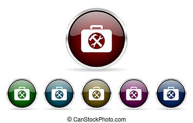 web, set, kleurrijke, iconen, toolkit, glanzend, cirkel