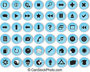 web, set, lucido, icona