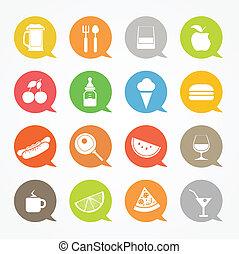 web, set, nubi, icone, colore cibo, discorso