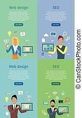 web, set, seo, concettuale, manifesti, bandiera, disegno