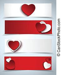 web, set, valentines, quattro, bandiere, giorno