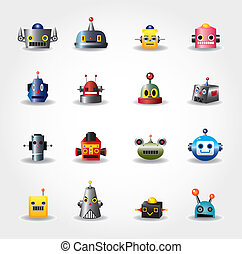 web, set, -vector, robot, gezicht, spotprent, pictogram