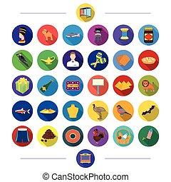 web, set, winkel, plat, collection., kar, circus, anderen, geneeskunde, fauna, iconen, style., rusten, textielproducten, pictogram