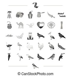 web, set, zakenbeelden, collection., vlucht, toetjes, reizen, anderen, black , rusten, style., amusement, pictogram